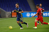 Ryann CHERKI of Lyon and Adrian Andrès CUBAS of Nimes during the French championship Ligue 1 football match between Olympique Lyonnais and Nimes Olympique on September 18, 2020 at Groupama stadium in Decines-Charpieu near Lyon, France - Photo Romain Biard / Isports / ProSportsImages / DPPI