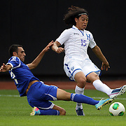 Roger Espinoza, Honduras, is fouled by Zahavi Eran, Israel, who was booked for the challenge during the Israel V Honduras  International Friendly football match at Citi Field, Queens, New York, USA. 2nd June 2013. Photo Tim Clayton