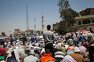 Morsi supporters gather to pray at a rally in support of their president and the Muslim Brotherhood.