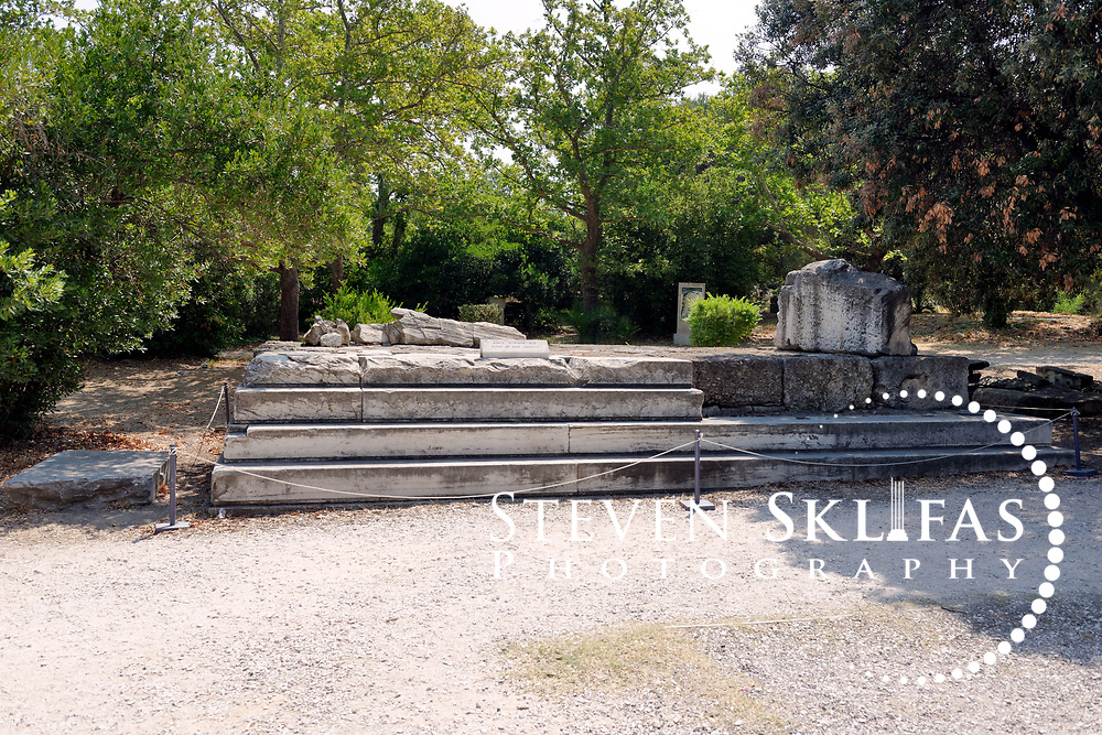 The 4th century BC Altar of Zeus Agoraios. Ancient Agora, Athens. Greece. Made of white marble, the altar is believed to have been moved from the Pnyx during the Augustan period (1st century). The Agora from 600 BC onwards was the commercial and social centre of Ancient Athens. It was here that laws were written and displayed, commercial goods bought and sold, intellectual discussions were had, and the democratic spirited was born and nurtured.