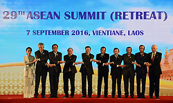 VIENTIANE, Sept. 7, 2016 (Xinhua) -- Leaders from the Association of Southeast Asian Nations (ASEAN) members pose for a group photo at the 29th ASEAN Summit in Vientiane, Laos, Sept. 7, 2016. (Xinhua/Liu Ailun)(axy) (Credit Image: © Liu Ailun/Xinhua via ZUMA Wire)