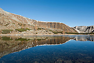 Nockberge National Park, a UNESCO Biosphere Reserve. Pictured here, mountains reflected in the surface of the Nassbodensee, a small alpine tarn below the Kleiner Rosennock. Alpe Adria Trail, Carinthia, Austria (October 2015) © Rudolf Abraham