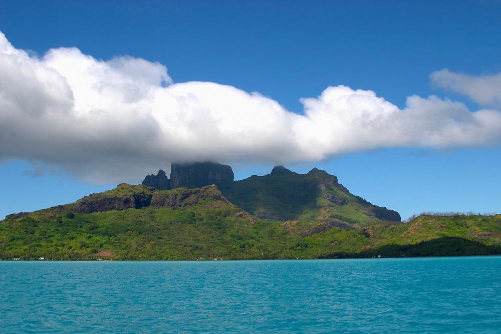 Mount Otemanu across lagoon with clouds, Bora Bora, Society Islands, South Pacific