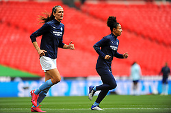 Jill Scott  and Demi Stokes of Manchester City Women warm up prior to kick-off- Mandatory by-line: Nizaam Jones/JMP - 29/08/2020 - FOOTBALL - Wembley Stadium - London, England - Chelsea v Manchester City - FA Women's Community Shield