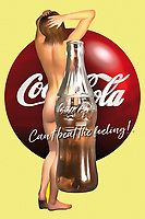 A Coca-Cola logo, a classic Coke bottle, and the site of a naked woman are all part of this fascinating example of pop art. Whether you are a fan of Coke or vintage Coke ads, or if you just like the combination of all of these fascinating elements, this is a piece that can express a great deal. It has the ability to exist in just about any space you can imagine. It invites the viewer to think about the role we play in the media that surrounds us. What happens when we bring the natural human form together with something created by the hands of those very humans? .<br /> <br /> BUY THIS PRINT AT<br /> <br /> FINE ART AMERICA<br /> ENGLISH<br /> https://janke.pixels.com/collections/cult<br /> <br /> <br /> WADM / OH MY PRINTS<br /> DUTCH / FRENCH / GERMAN<br /> https://www.werkaandemuur.nl/nl/shopalbum/Pop-Art/1846/34714/0