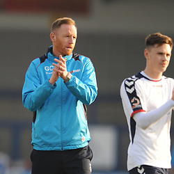 TELFORD COPYRIGHT MIKE SHERIDAN 30/3/2019 - Disappointed Gavin Cowan applauds the fans at full time during the Vanarama National League North fixture between AFC Telford United and Blyth Spartans at the New Bucks Head.