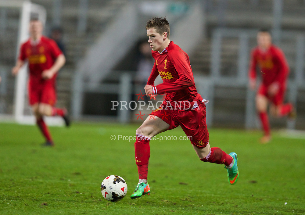 ST. HELENS, ENGLAND - Wednesday, January 15, 2014: Liverpool's Ryan Kent in action against Aston Villa during the FA Youth Cup 4th Round match at Langtree Park. (Pic by David Rawcliffe/Propaganda)