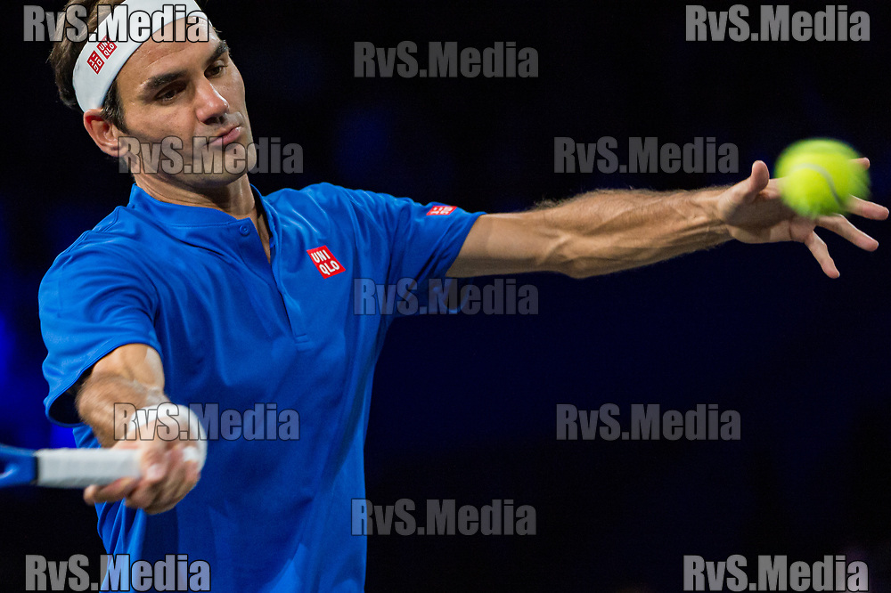 GENEVA, SWITZERLAND - SEPTEMBER 22: Roger Federer of Team Europe plays a forehand during Day 3 of the Laver Cup 2019 at Palexpo on September 20, 2019 in Geneva, Switzerland. The Laver Cup will see six players from the rest of the World competing against their counterparts from Europe. Team World is captained by John McEnroe and Team Europe is captained by Bjorn Borg. The tournament runs from September 20-22. (Photo by Robert Hradil/RvS.Media)