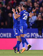 Riyad Mahrez of Leicester city ® celebrates after he scores  his teams 1st goal to make it 1-1 .Premier league match, Leicester City v West Bromwich Albion at the King Power Stadium in Leicester, Leicestershire on Monday 16th October 2017.<br /> pic by Bradley Collyer, Andrew Orchard sports photography.
