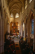 Aerial view of Mass being held in a local rural Catholic church, on 15th October 1997, in Neubourg, Normandy, France.