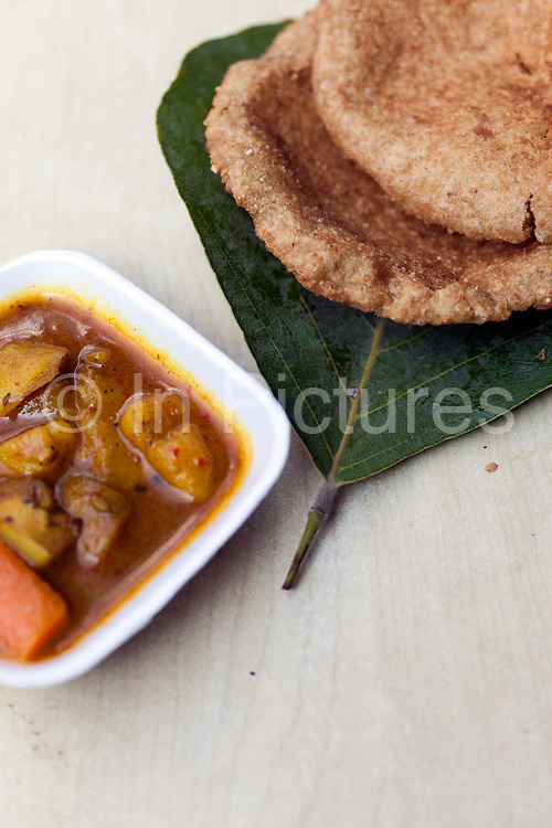A dish of bedmi Alu at Ram Swarup Old Delhi, India