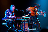 Ray Manzarek (keyboard) and Roy Rogers (slide guitar) play in concert at the  Triple Door dinner theater in Seattle, Washington state, USA