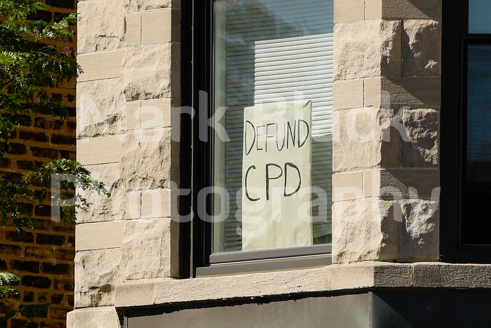 Defund CPD (Chicago Police Department) sign in a window in Chicago on Friday, Sept. 4, 2020. Photo by Mark Black