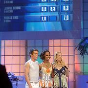 NLD/Hilversum/20070302 - 8e Live uitzending SBS Sterrendansen op het IJs 2007, Jasmine Sendar en schaatspartner Michal Zych, Nance Coolen met op de achtergrond het scorebord