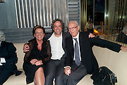 GIORGIO WITH HIS PARENTS.; FERRUCCIO LOCATELLI; GIOGIO LOCATELLI; GIUSEPPINA LOCATELLI, Giogio Locatelli's book launch. Loconda. Portman Sq. London. 4 October 2011. <br /> <br />  , -DO NOT ARCHIVE-© Copyright Photograph by Dafydd Jones. 248 Clapham Rd. London SW9 0PZ. Tel 0207 820 0771. www.dafjones.com.