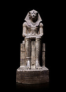 Ancient Egyptian statue of Tuthmosis II, granodorite, New Kingdom, 18th Dynasty, (1479-1425 BC), Karnak, Temple of Amun. Egyptian Museum, Turin. black background.<br /> <br /> Tuthmosis II is shown wearing Royal regalia including the shendyt kilt, the nemes headdress and the uraeus cobra on his forehead. Between his legs in a bulls tail, the symbol of power. On the sides of the throne is the sema-tawy, a sign composed of a lotus and papyrus, the symbols od Upper and Lower Egypt. Under the feet of the king are the Nine Bows, the enemies of Egypt. Together these symbolise that the pharaoh keeps the two halves of Egypt together and protects them against her enemies. Drovetti Collection. C 1376 .<br /> <br /> If you prefer to buy from our ALAMY PHOTO LIBRARY  Collection visit : https://www.alamy.com/portfolio/paul-williams-funkystock/ancient-egyptian-art-artefacts.html  . Type -   Turin   - into the LOWER SEARCH WITHIN GALLERY box. Refine search by adding background colour, subject etc<br /> <br /> Visit our ANCIENT WORLD PHOTO COLLECTIONS for more photos to download or buy as wall art prints https://funkystock.photoshelter.com/gallery-collection/Ancient-World-Art-Antiquities-Historic-Sites-Pictures-Images-of/C00006u26yqSkDOM