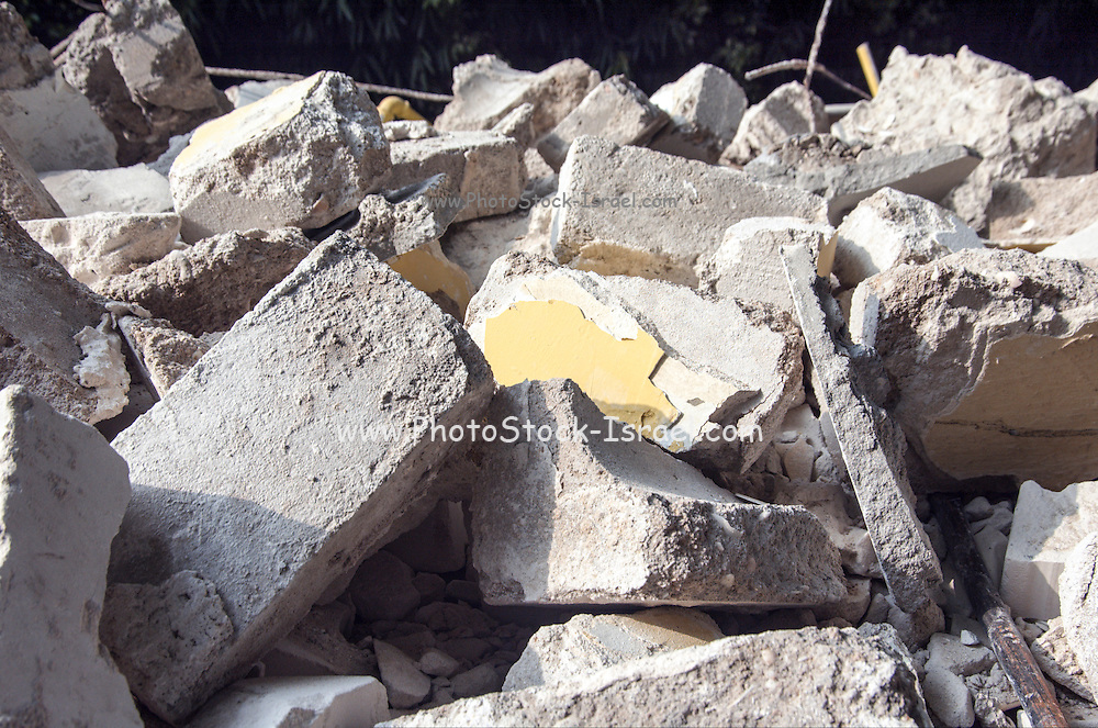 Concrete stones and bricks scrap after a demolition of an old building