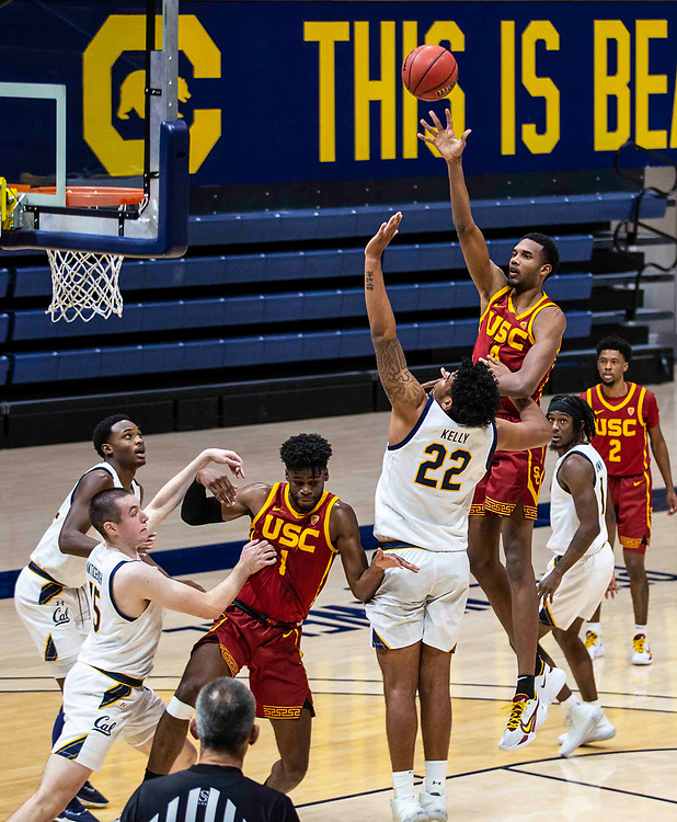 January 23 2021 Berkeley, CA  U.S.A. USC Trojans forward Evan Mobley (4) shoots the ball in the paint during the NCAA Basketball game between USC Trojans and the California Golden Bears 76-68 win at Hass Pavilion. Thurman James / CSM