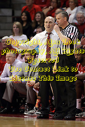 17 January 2015:   Geno Ford works on referee Tim Fitzgerald during an NCAA MVC (Missouri Valley Conference men's basketball game between the Bradley Braves and the Illinois State Redbirds at Redbird Arena in Normal Illinois