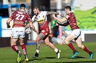 Zak Hardaker (1) of Wigan Warriors during the Betfred Super League match between Huddersfield Giants and Wigan Warriors at the John Smiths Stadium, Huddersfield, England on 1 March 2020.