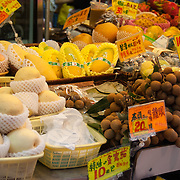Fresh fruit and vegetables at a street market, Mong Kok, Hong Kong