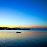 Morning Crew Rows Across Lake Zurich Switzerland