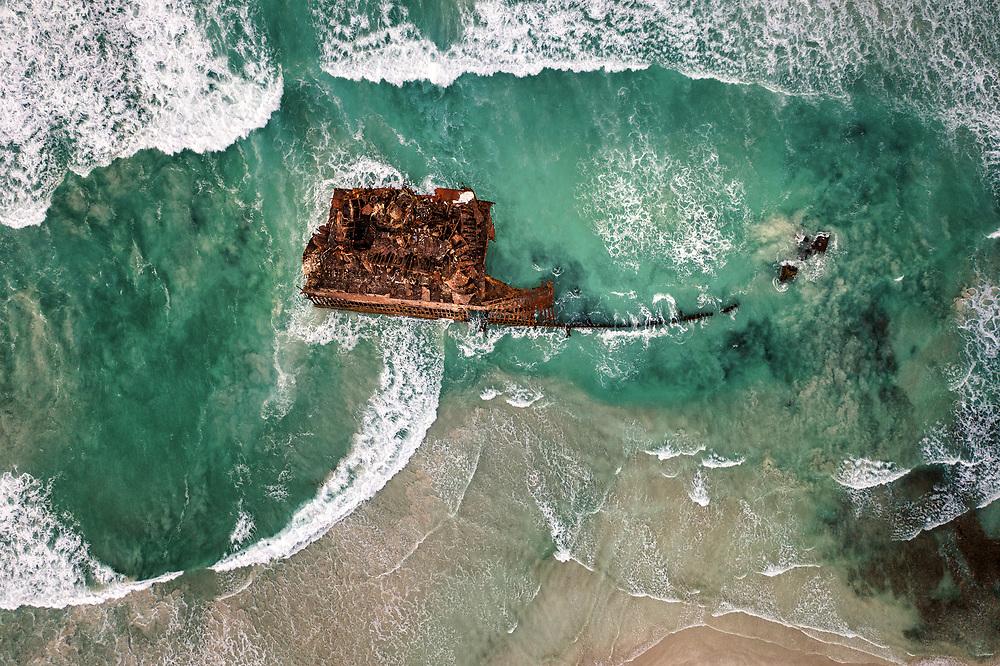 Shipwreck of Cabo Santa Maria at Praia de Atalanta beach. Boa Vista in Cape Verde.