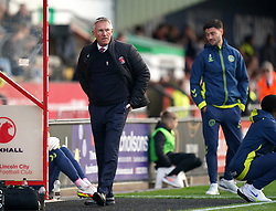 Charlton Athletic manager Nigel Adkins frustrated on the touchline during the Sky Bet League One match at the LNER Stadium, Lincoln. Picture date: Saturday October 16, 2021.