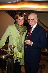 SIR PETER O'SULLEVAN and CLARE BALDING at The Sir Peter O'Sullevan Charitable Trust Lunch at The Savoy, London on 23rd November 2005.<br /><br />NON EXCLUSIVE - WORLD RIGHTS