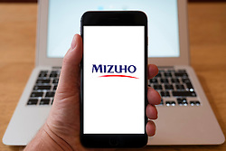 Using iPhone smartphone to display logo of Mizuho Bank