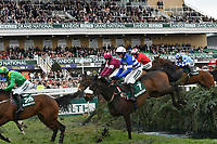 National Hunt Horse Racing - 2019 Randox Health Grand National Festival - Friday, Day Two (Ladies Day)<br /> <br /> : H Cobden on no 7 Adrien Du Pont jumps the Water Jump<br /> in the 16:05 Randox Health Topham Handicap Chase (Grade 3) (National Course)) at Aintree Racecourse.<br /> <br /> COLORSPORT/WINSTON BYNORTH