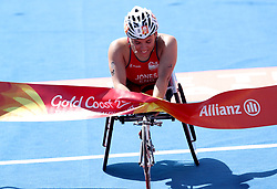 England's Jade Jones crosses the finish line in first place to take gold in the Women's Para-triathlon Final at the Southport Broadwater Parklands during day three of the 2018 Commonwealth Games in the Gold Coast, Australia.