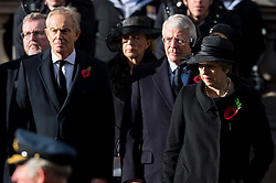 © Licensed to London News Pictures. 12/11/2017. London, UK. Former British Prime Ministers TONY BLAIR and JOHN MAJOR with British Prime Minister THERESA MAY attend a Remembrance Day Ceremony at the Cenotaph war memorial in London, United Kingdom, on November 13, 2016 . Thousands of people honour the war dead by gathering at the iconic memorial to lay wreaths and observe two minutes silence. Photo credit: Ray Tang/LNP