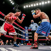 KISSIMMEE, FL - MARCH 05: Gianny Garcia (R) fights Julio Buitrago during the Boxeo Telemundo All Star Boxing event at Osceola Heritage Park on March 5, 2021 in Kissimmee, Florida. (Photo by Alex Menendez/Getty Images) *** Local Caption *** Gianny Garcia; Julio Buitrago