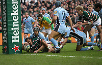 Photo: Rich Eaton.<br /> <br /> Leicester Tigers v Cardiff Blues. Heineken Cup. 13/01/2007.Alesana Tuilaga scores for Leicester early in the first half