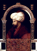 Suleiman I, (1494  – 1566) longest-reigning Sultan of the Ottoman Empire, from 1520 to his death in 1566.Suleiman the magnificent marching with army in Nakhichevan, summer 1554. Date 1561(1561) painted in 1480 painting by the Venetian painter, Gentile Bellini (1429 - 1507)