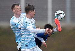 Andreas Holm og Dalton Wilkins (FC Helsingør) under træningskampen mellem FC Helsingør og HB Køge den 22. februar 2020 på Helsingør Ny Stadion (Foto: Claus Birch).