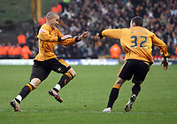 Photo: Rich Eaton.<br /> <br /> Wolverhampton Wanderers v Leeds United. Coca Cola Championship. 24/02/2007. Michael Kightly left celebrates scoring the only goal of the game for Wolves with Michael McIndoe