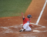 Ole Miss' Austin Anderson (8) scores vs. Lipscomb at Oxford-University Stadium in Oxford, Miss. on Sunday, March 10, 2013. Ole Miss won 9-8. The Rebels improve to 16-1.