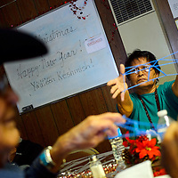122013  Adron Gardner/Independent<br /> <br /> Christine Tsosie brandishes her design for the string game at the senior center in Sawmill Friday.