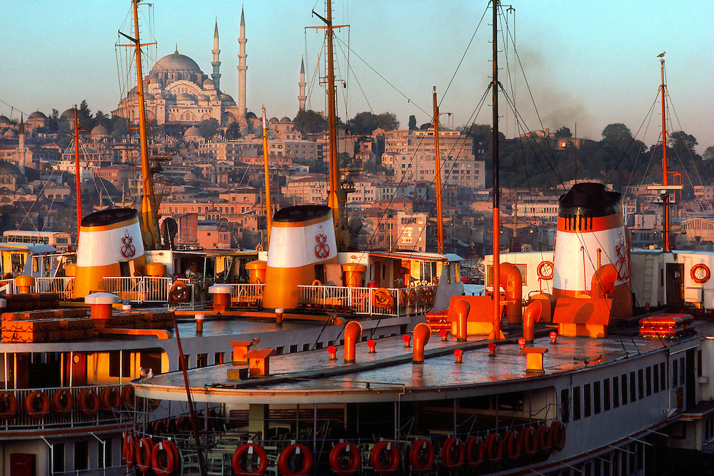 Bosporus ferries with Suleymaniye Mosque in background, Istanbul, Turkey