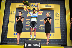 July 20, 2018 - Valence, FRANCE - Slovak Peter Sagan of Bora-Hansgrohe celebrates on the podium after winning the 13th stage in the 105th edition of the Tour de France cycling race, from Bourg d'Oisans to Valence (169,5 km), France, Friday 20 July 2018. This year's Tour de France takes place from July 7th to July 29th. BELGA PHOTO DAVID STOCKMAN (Credit Image: © David Stockman/Belga via ZUMA Press)
