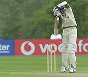 Shenley, Middlsex. ENGLAND, Sri Lanka Tour match.<br /> Photo Peter Spurrier<br /> 11/05/2002<br /> Sport - Cricket - Middlesex vs Sri Lanka -Shenley:<br /> Zoysa, directs the ball .                             [Mandatory Credit:Peter SPURRIER/Intersport Images]