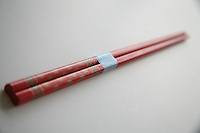 Red wooden chopsticks