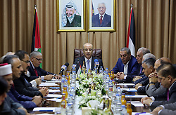 October 3, 2017 - Gaza City, Gaza Strip, Palestinian Territory - Palestinian Prime Minister Rami Hamdallah chairs a reconciliation cabinet  meeting in Gaza City on October 3, 2017. The Palestinian reconciliation government met in Gaza for the first time since 2014 as moves intensifies to end the decision-old rift between the main political factions  (Credit Image: © Prime Minister Office/APA Images via ZUMA Wire)