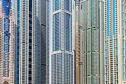 detail  of skyscrapers in Marina district of Dubai United Arab Emirates