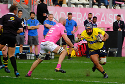 April 7, 2018 - Paris, France - Clermont Prop LONI UHILA in action during the French rugby championship Top 14 match between Stade Francais and Clermont at Jean Bouin Stadium in Paris - France..Stade Francais won 50-13 (Credit Image: © Pierre Stevenin via ZUMA Wire)