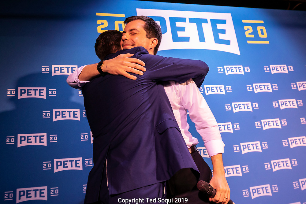 Mayor Pete Buttigieg with his husband Chasten Glezman.<br /> Democratic presidential candidate Mayor Pete Buttigieg at a campaign event held at The Abbey in West Hollywood. <br /> West Hollywood, CA. USA 5/9/2019<br /> (Ted Soqui/SIPA USA)