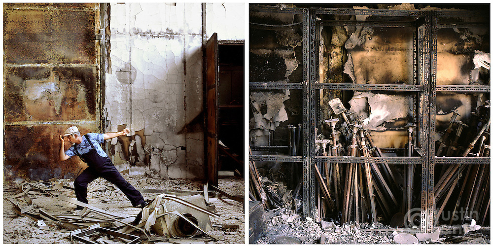 At left, Mohammed Mattar, the manager of Baghdad's televsion studio dances on a sound stage. At right, light stands damaged by a fire at the studio.