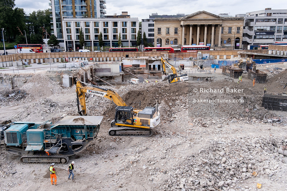The changing urban landscape during the ongoing clearance of the site of the former Elephant & Castle shopping centre which is being demolished and redeveloped in south London, on 13th September 2021, in London, England. The much-criticised architecture of the Elephant & Castle Shopping Centre was opened in 1965, built on the bomb damaged site of the former Elephant & Castle Estate, originally constructed in 1898. The centre was home to restaurants, clothing retailers, fast food businesses and clubs where south Londoners socialised and met lifelong partners